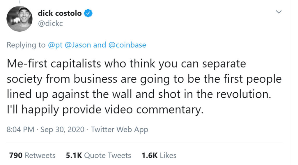 Ex-Twitter CEO Wants to Shoot Capitalist Americans